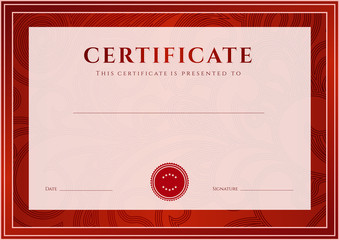 Red Certificate / Diploma template (design). Floral pattern