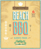 Vintage Beach BBQ poster. Vector background.