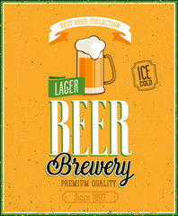 Vintage Beer Brewery Poster. Vector illustration.