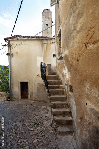 Beautiful mediterranean old stairs in Vrbnik Town Croatia