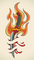 Old-school tattoo - Flaming Dagger