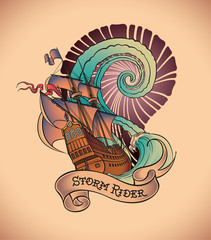 Old-school tattoo - Storm Rider