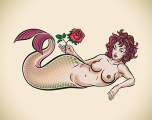 Mermaid with red rose