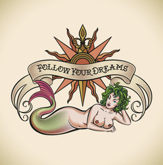 Green hair mermaid - Follow Your Dreams