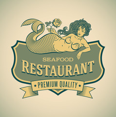Mermaid seafood restautant label