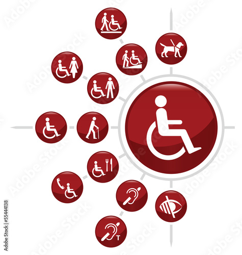 Red Disability related icon set
