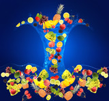 Flight of fruits and berries in water on blue background