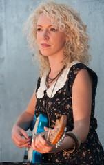 electric guitar girl portrait
