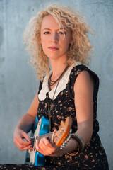 sunset electric guitar girl