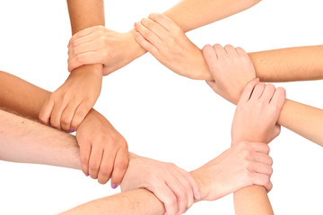 Ring of hands, isolated on white.  Conceptual photo of teamwork