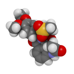 Apremilast investigational psoriasis drug, chemical structure.