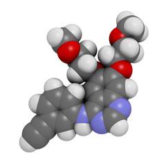 Erlotinib cancer drug, chemical structure.
