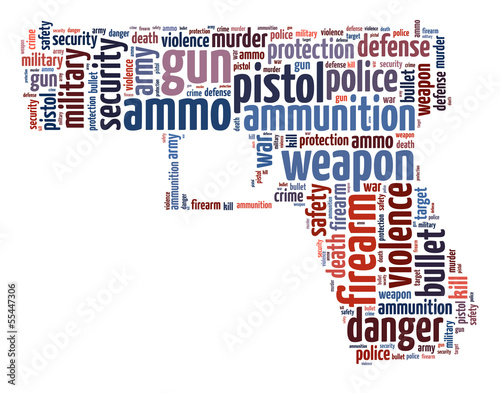 Words illustration of a pistol in white background.