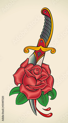 Old-school tattoo - Dagger through Rose