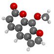 methoxsalen (psoralen) skin disease drug, chemical structure.