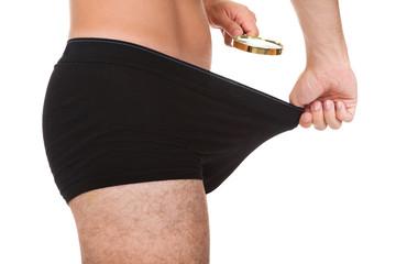 Man looking in his underwear