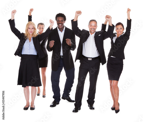 Happy Multi-racial Group Of Business People