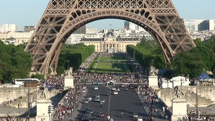 Eiffel Tower Base on a Busy Spring Day