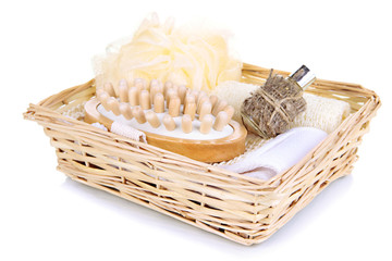 Set  for spa in wicker basket, isolated on white