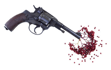 Gun with bunch of berries like blood