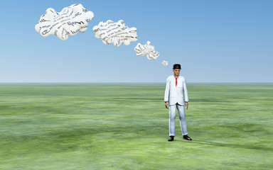 Man with 3D white thought clouds
