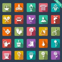 Gardening icons - flat design
