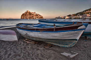 Aragonese Casle (Ischia Island) view beach old prison at sunse 1