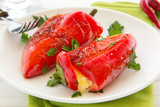 Roasted peppers stuffed with feta cheese, selective focus.