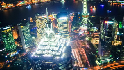 Aerial view of Shanghai Pudong at night,time lapse