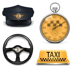 Vector Retro Taxi Icons