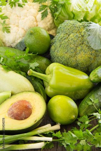 still life of green vegetables.