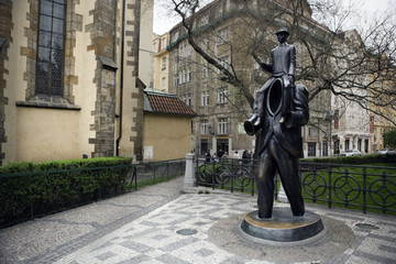 Franz Kafka statue in Jewish quarters, Prague.