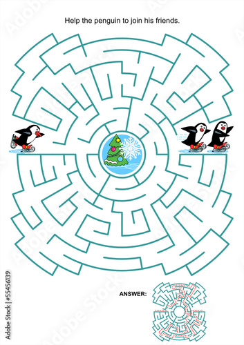 Maze game for kids - skating penguins