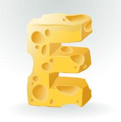 Cheese font E letter. Illustration on white.