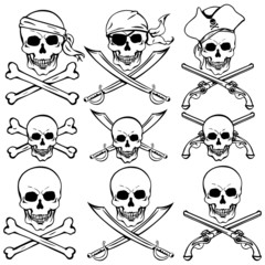 vector set of pirate skulls