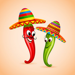 vector illustration of Mexican chili dancing