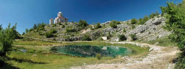 source of river Cetina with the church