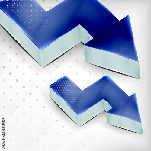 Vector blue 3d arrow background
