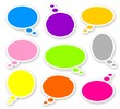 stickers of color rounded comics text bubbles