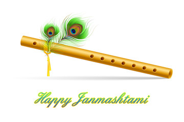 illustration of bansuri with Peacock feather in Janmashtami