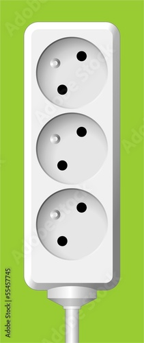 white electric triple socket