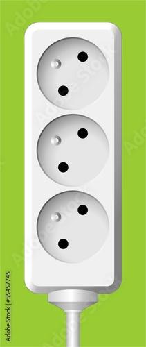 white electric triple socket