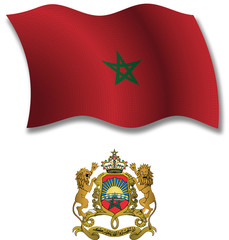 morocco textured wavy flag vector