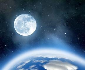 Night sky with stars,nebula,earth and moon.