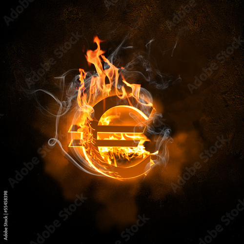 Euro symbol in fire flames