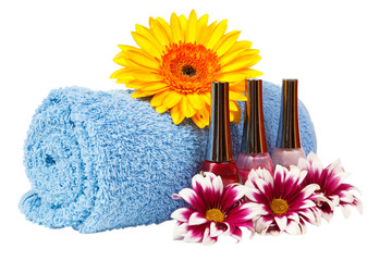 blue towel, nail polish, gerbera