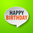 Happy Birthday 3d Speech Bubble on Green background