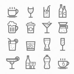beverage symbol line icon set