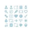 Business icon set blue