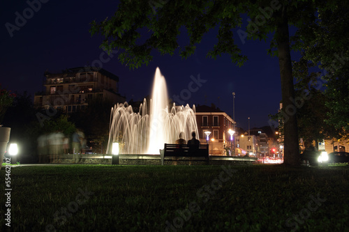 fountain at night in Arona. Italy
